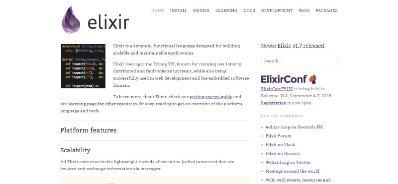 web development technologies programming languages Elixir - الیکسیر