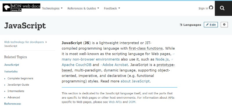 web development technologies programming languages JavaScript